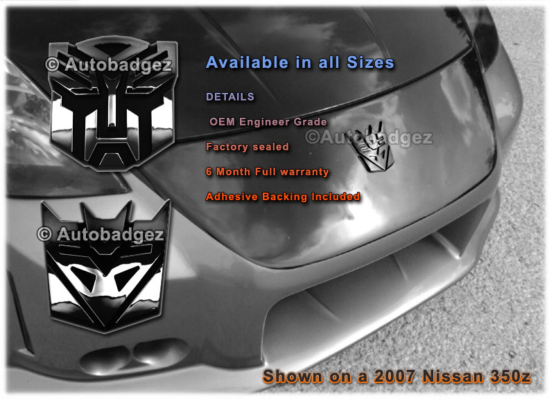Autobadgez Transformers Chrome Badges Emblems For Cars And